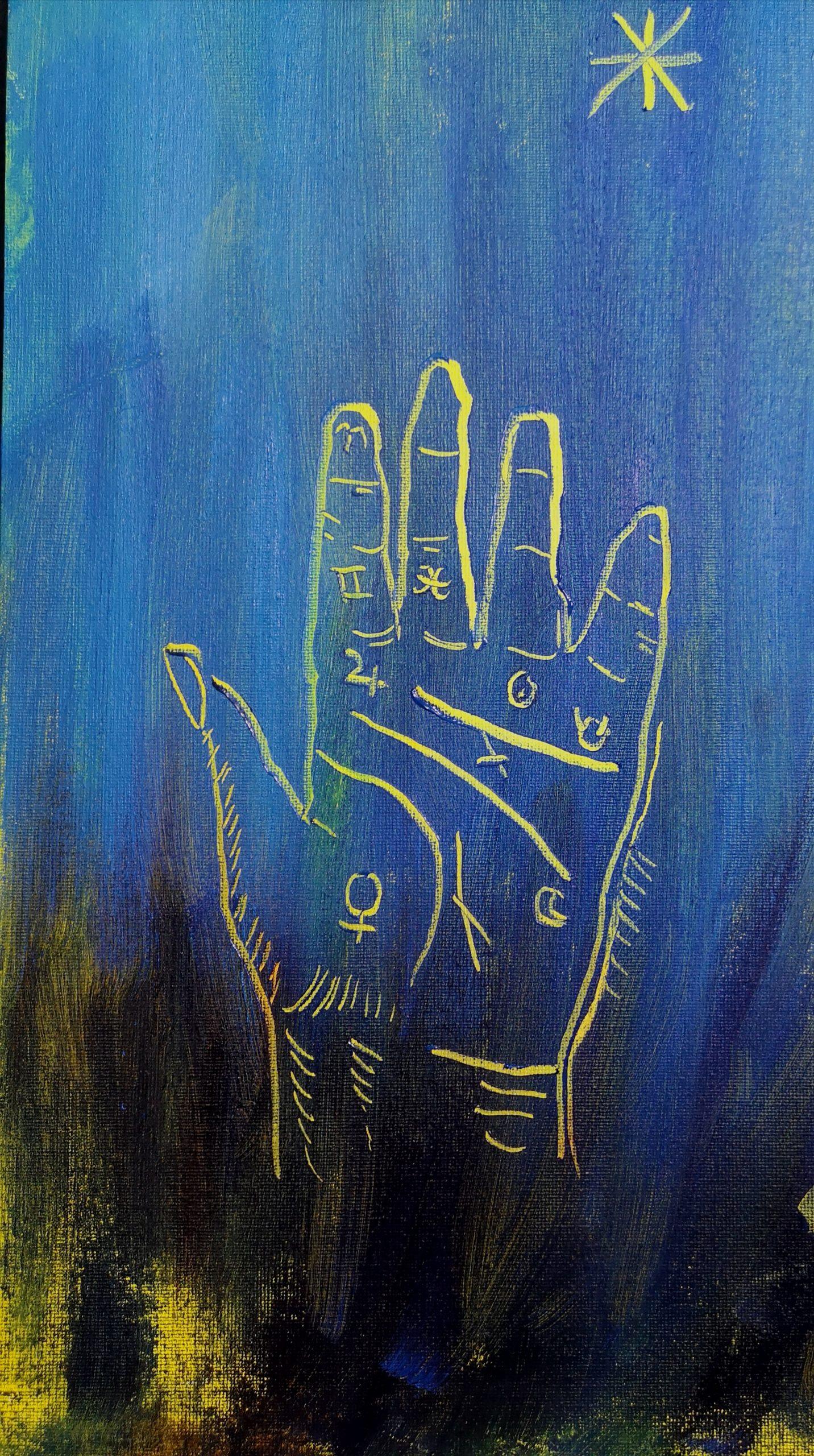 Palmistry hand oil sgraffito test